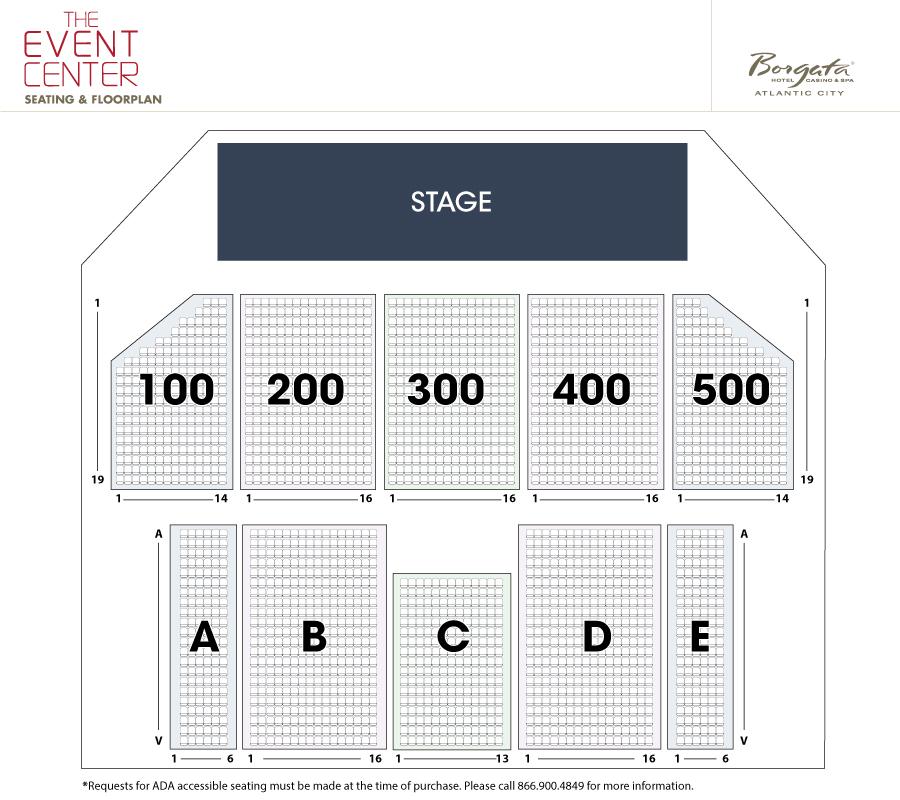 Seating Chart Borgata Event Center Atlantic City New Jersey